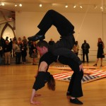 Marci and Chris Oakley contortion at Mika Tajima exhibit opening