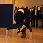 Marci contortion at Mika Tajima exhibit opening